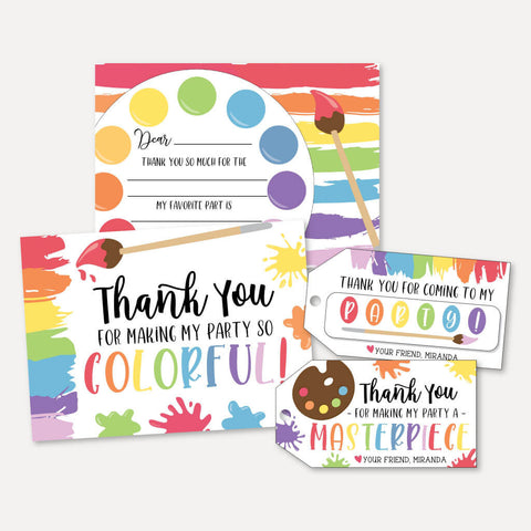 Art Kids Party Thank You Package Set Printable Template