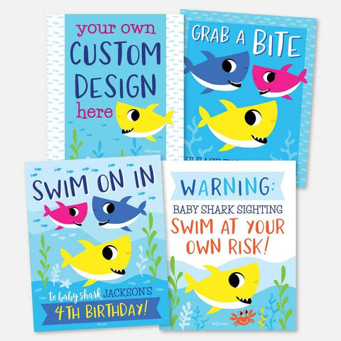 Baby Shark Kids Party Sign Set Printable Template