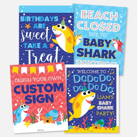 Baby Shark Do Do Kids Party Sign Set Printable Template