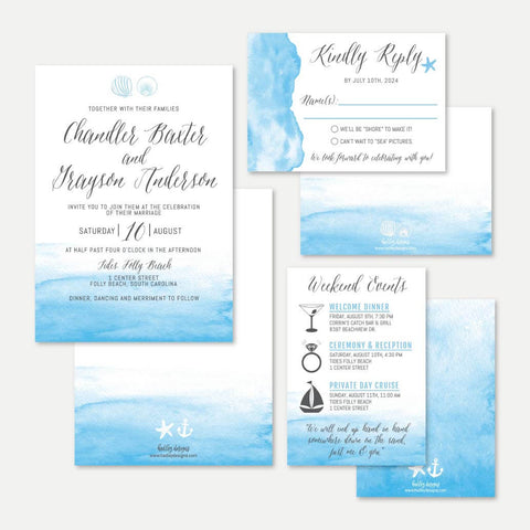 Beach Wave Wedding Invitation Suite Printable Template