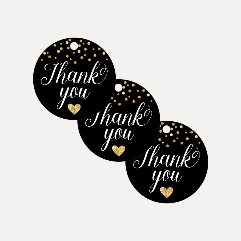 Black and Gold Baby Shower Thank You Tag Printable Template