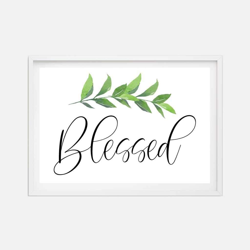 Blessed Greenery Wall Art Inspirational Home Decor Sign Printable Template