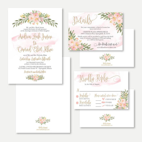 Blush Floral Arch Wedding Invitation Suite Printable Template