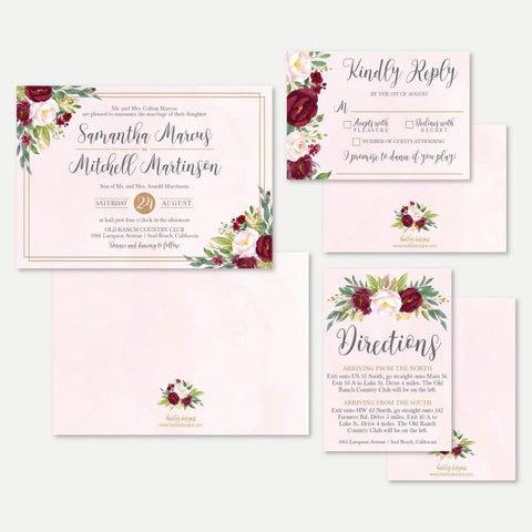Blush Watercolor Burgundy Floral Wedding Invitation Suite Printable Template