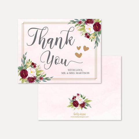 and Cream Autumn Flower Thank You Cards in Kraft Orange Printable OR Printed Rustic Floral Wedding Folded Thank You Cards Pink 0028