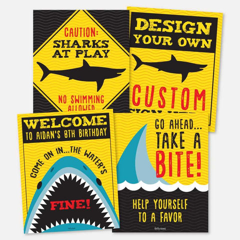 Baby Shark Danger Kids Party Sign Set Printable Template
