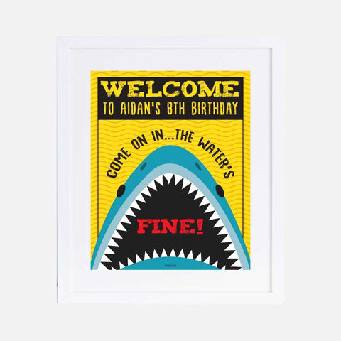 Baby Shark Danger Kids Party Welcome Sign Printable Template