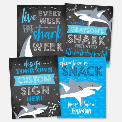 Baby Shark Chalk Kids Party Sign Set Printable Template