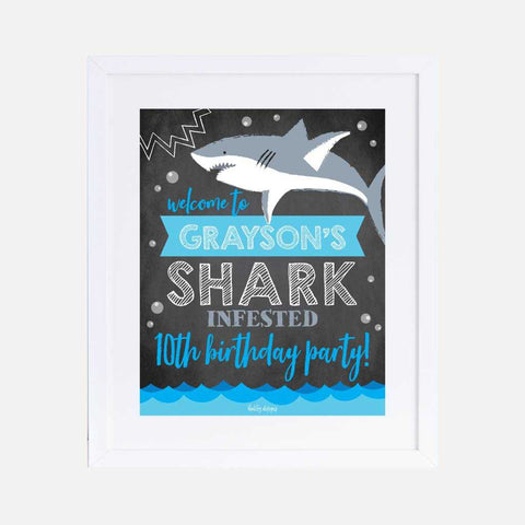 Baby Shark Chalk Kids Party Welcome Sign Printable Template