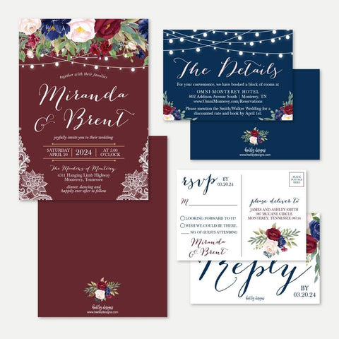 Burgundy Floral and Lace Wedding Invitation Suite Printable Template