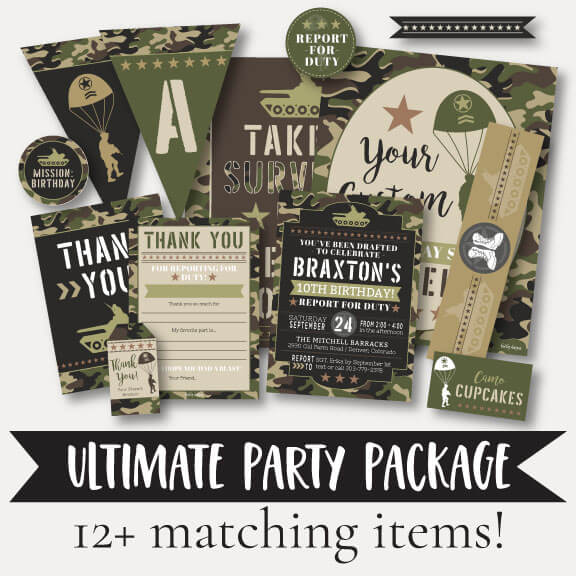 Camo Army Kids Party Complete Package Set Printable Template