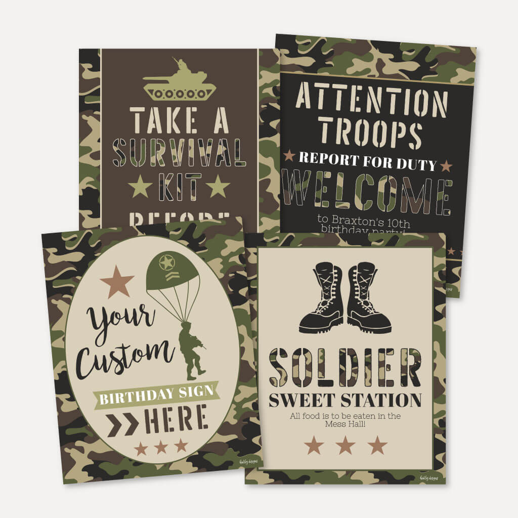 Camo Army Kids Party Sign Set Printable Template