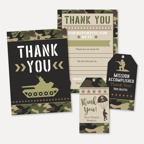 Camo Army Kids Party Thank You Package Set Printable Template