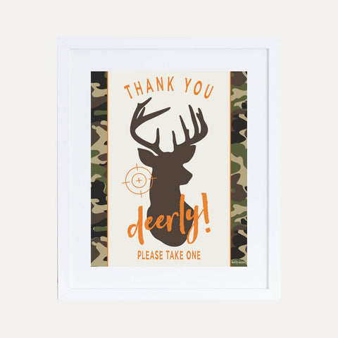 Hunting Camo Kids Party Favors Sign Printable Template