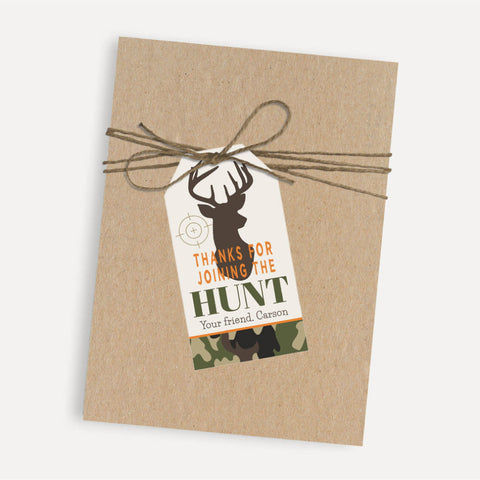Hunting Camo Kids Party Thank You Favor Tags Printable Template
