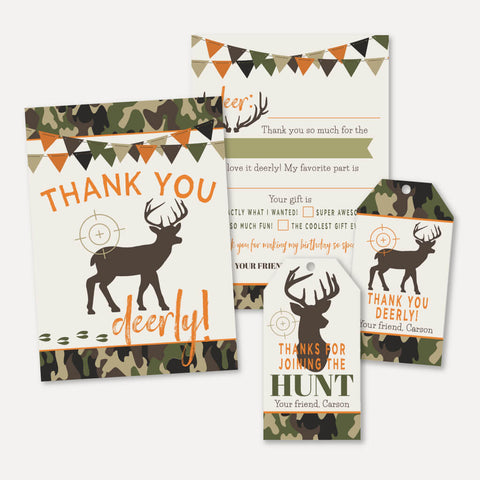 Hunting Camo Kids Party Thank You Package Set Printable Template