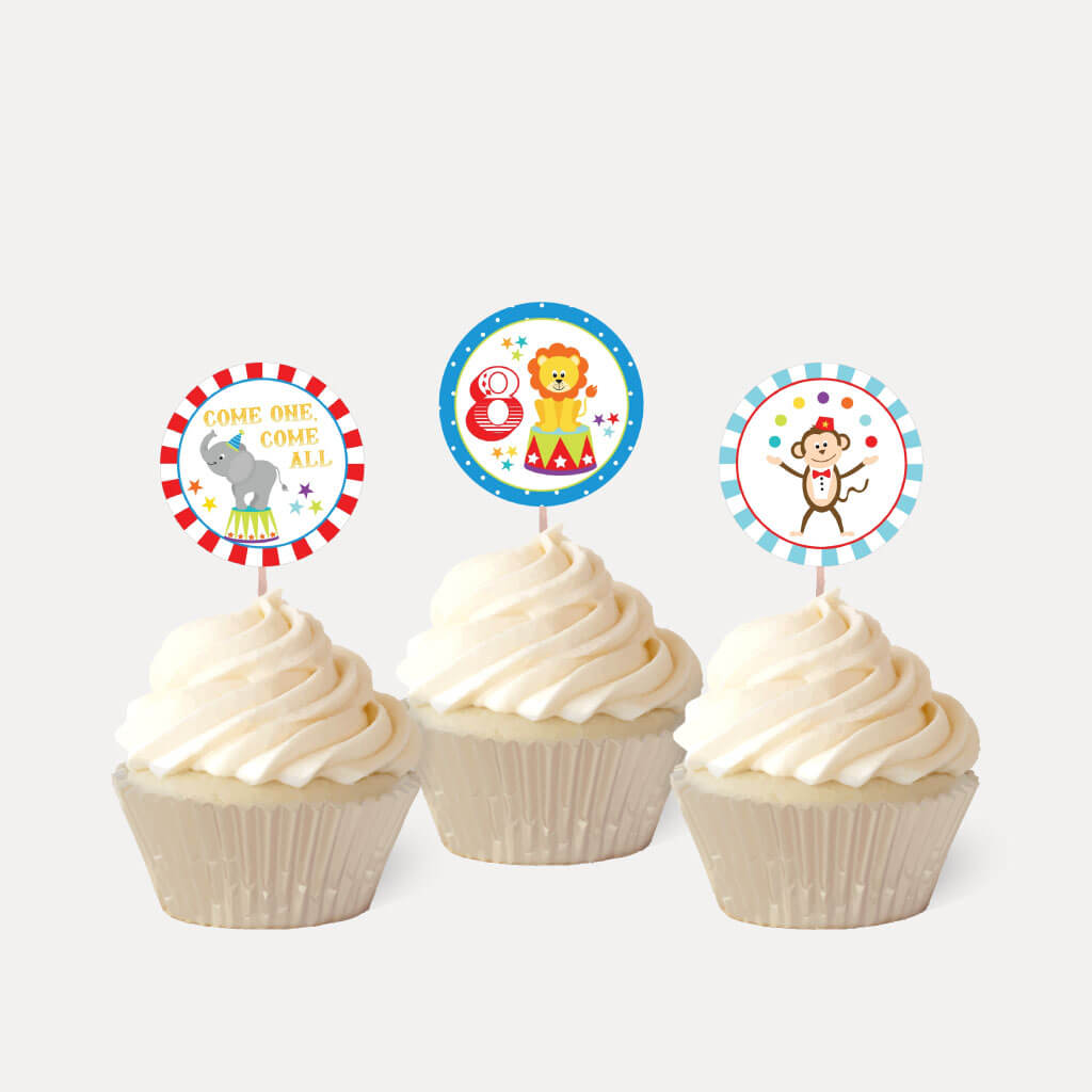 Carnival Kids Party Cupcake Topper Printable Template