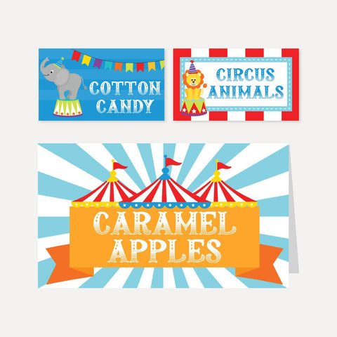 Carnival Kids Party Food Tent Cards Printable Template