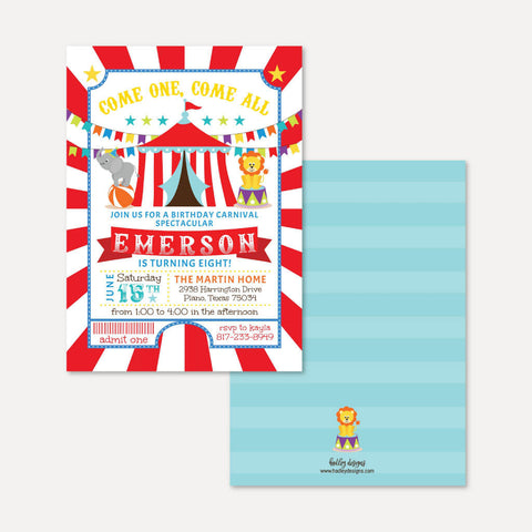 Carnival Kids Party Invitation Printable Template