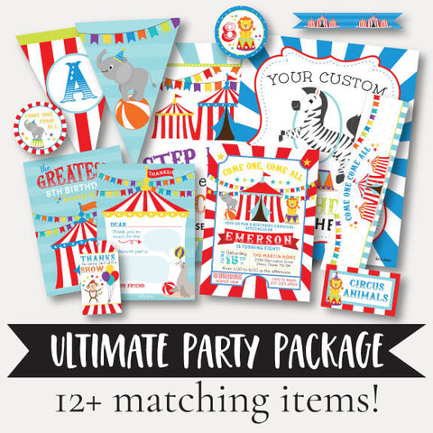 Carnival Kids Party Complete Package Set Printable Template