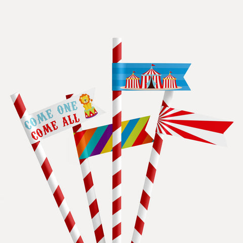 Carnival Kids Party Straw Flag Printable Template