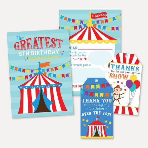 Carnival Kids Party Thank You Package Set Printable Template