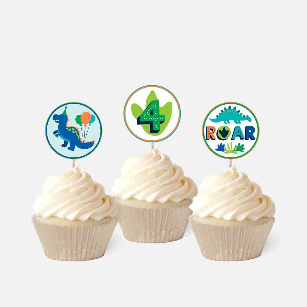 Cartoon Dinosaur Kids Party Cupcake Topper Printable Template