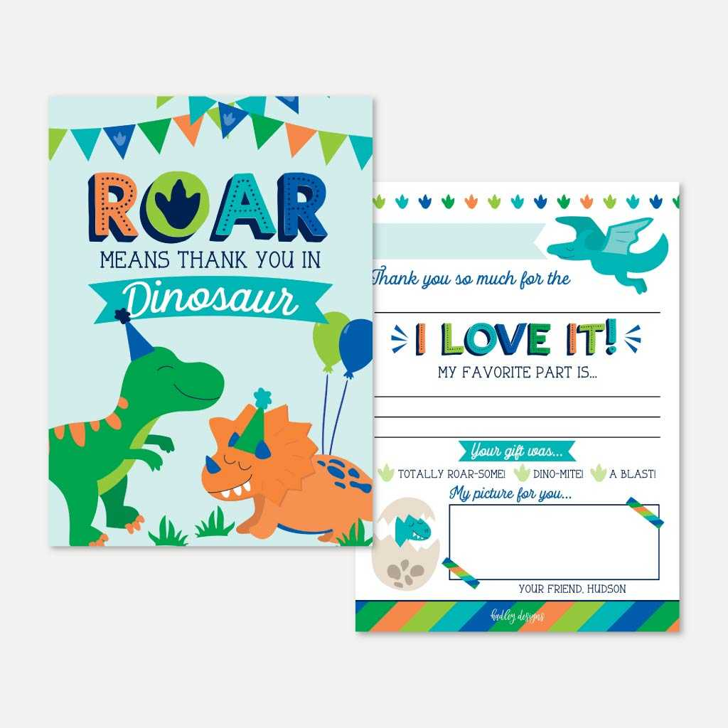 Cartoon Dinosaur Kids Party Thank You Card Printable Template