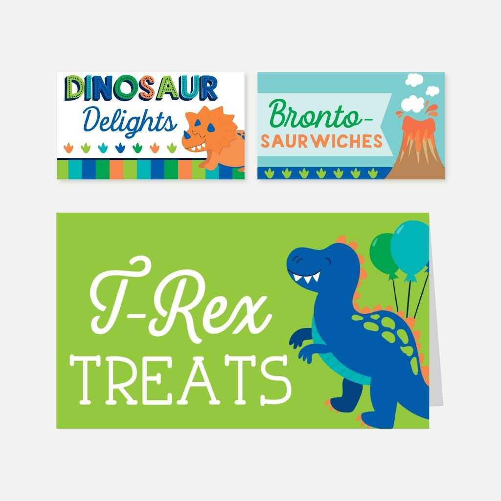 Cartoon Dinosaur Kids Party Accessories and Decor Printable Template