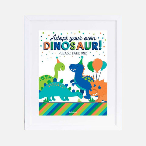 Cartoon Dinosaur Kids Party Favors Sign Printable Template