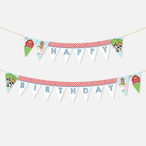 Cartoon Farm Kids Party Banner Printable Template