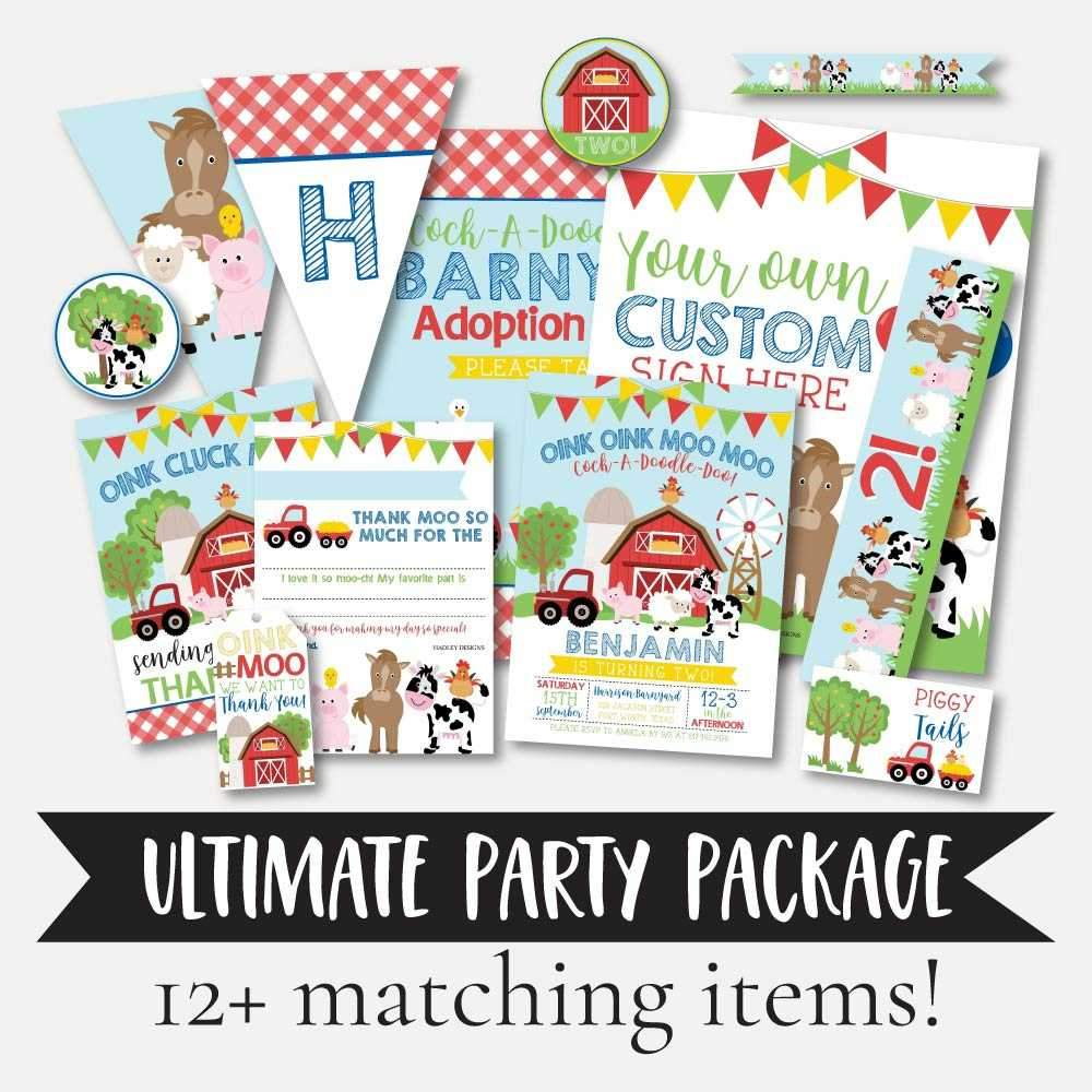Cartoon Farm Kids Party Complete Package Set Printable Template