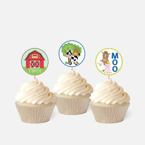 Cartoon Farm Kids Party Cupcake Topper Printable Template