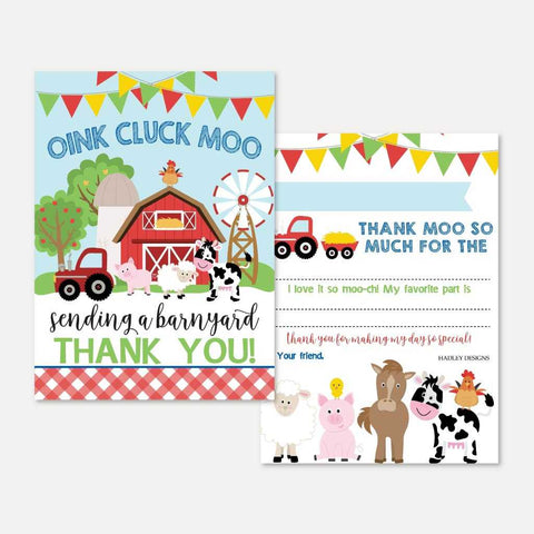 Cartoon Farm Kids Party Thank You Card Printable Template