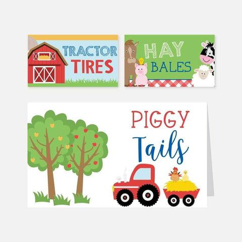 Cartoon Farm Kids Party Food Tent Cards Printable Template