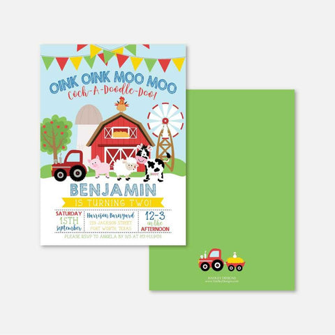 Cartoon Farm Kids Party Invitation Printable Template