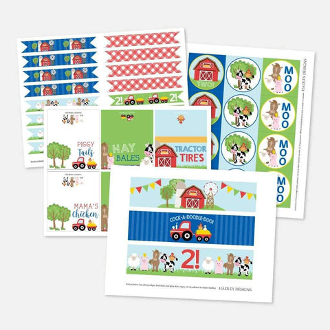 Cartoon Farm Kids Party Accessories and Decor Printable Template