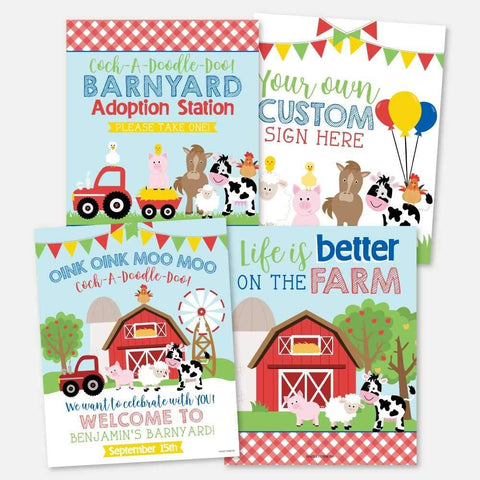 Cartoon Farm Kids Party Sign Set Printable Template