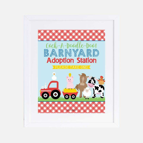 Cartoon Farm Kids Party Favors Sign Printable Template