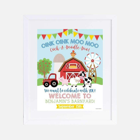 Cartoon Farm Kids Party Welcome Sign Printable Template