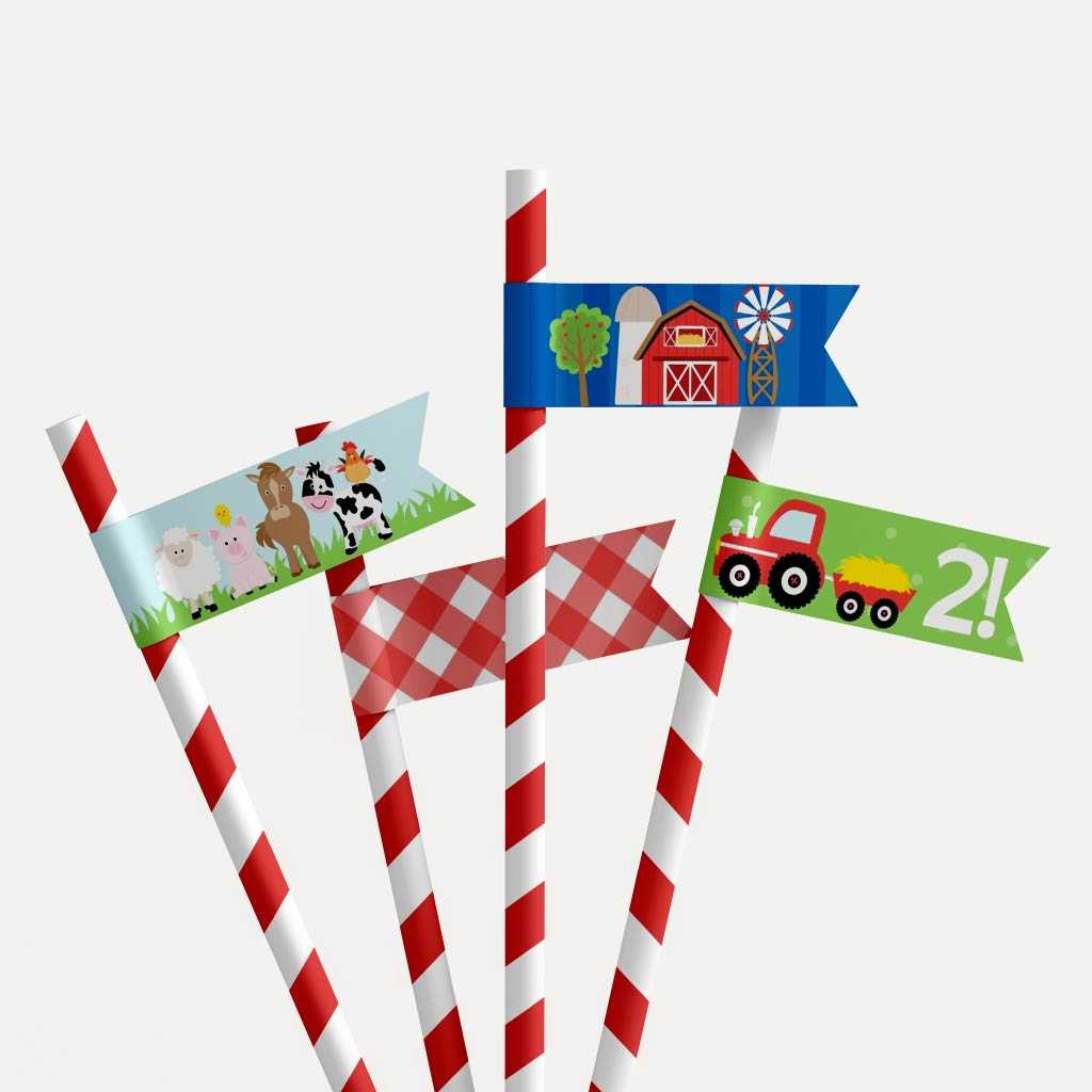 Cartoon Farm Kids Party Straw Flag Printable Template
