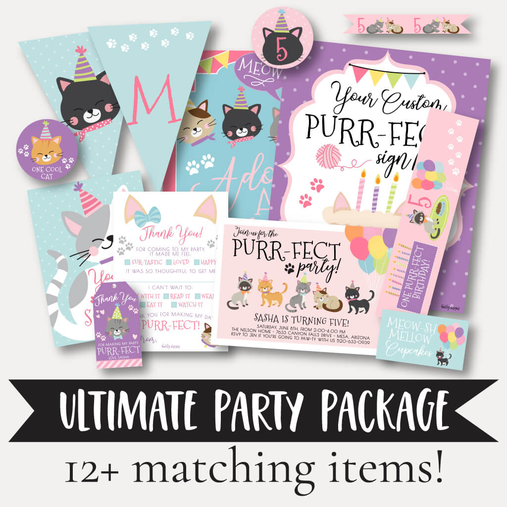 Cat Kids Party Complete Package Set Printable Template