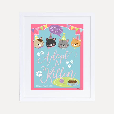 Cat Kids Party Favors Sign Printable Template