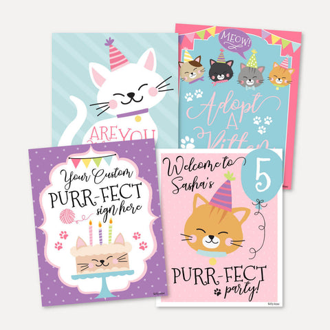 Cat Kids Party Sign Set Printable Template