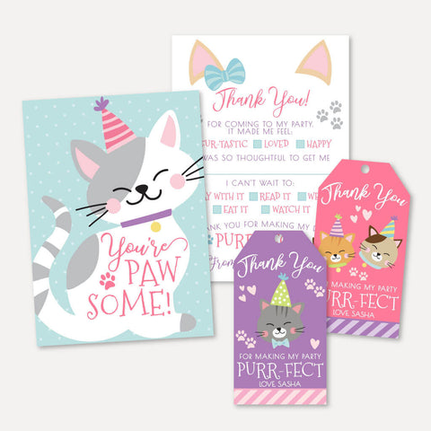 Cat Kids Party Thank You Package Set Printable Template