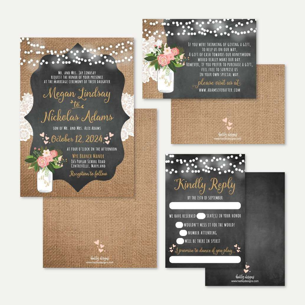 Chalk Burlap and Lace Wedding Invitation Suite Printable Template