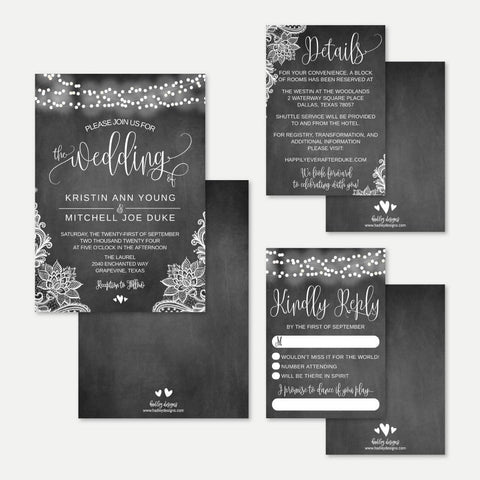 Chalk Lace Lights Wedding Invitation Suite Printable Template