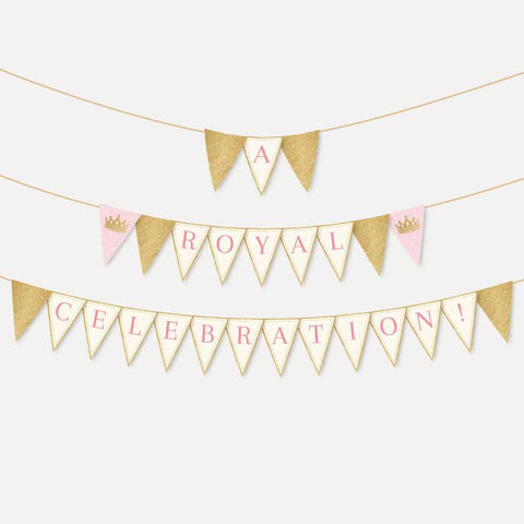 Vintage Princess Kids Party Banner Printable Template