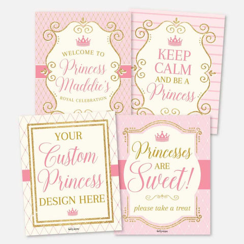 Vintage Princess Kids Party Sign Set Printable Template
