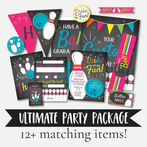 Cosmic Bowling Kids Party Complete Package Set Printable Template